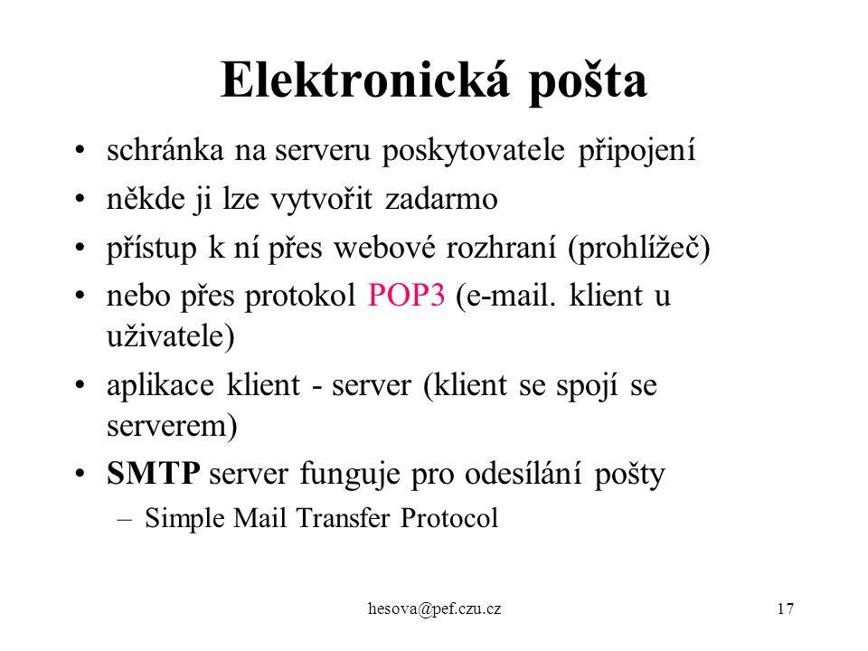 Elektronická pošta schránka na serveru poskytovatele připojení