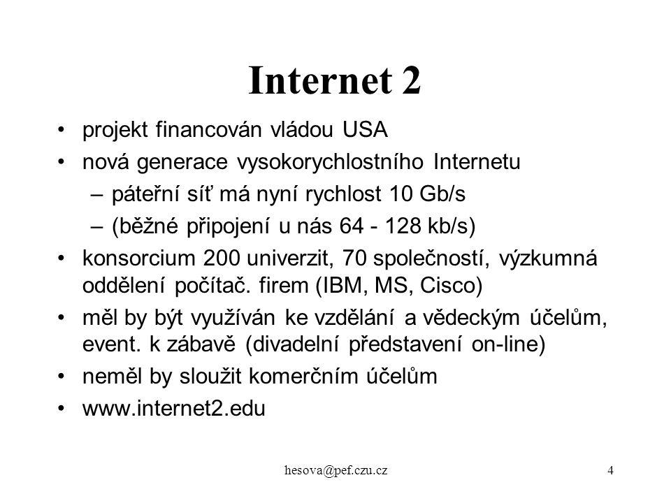 Internet 2 projekt financován vládou USA
