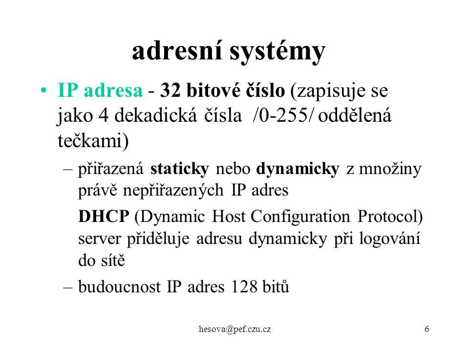 adresní systémy IP adresa - 32 bitové číslo (zapisuje se jako 4 dekadická čísla /0-255/ oddělená tečkami)