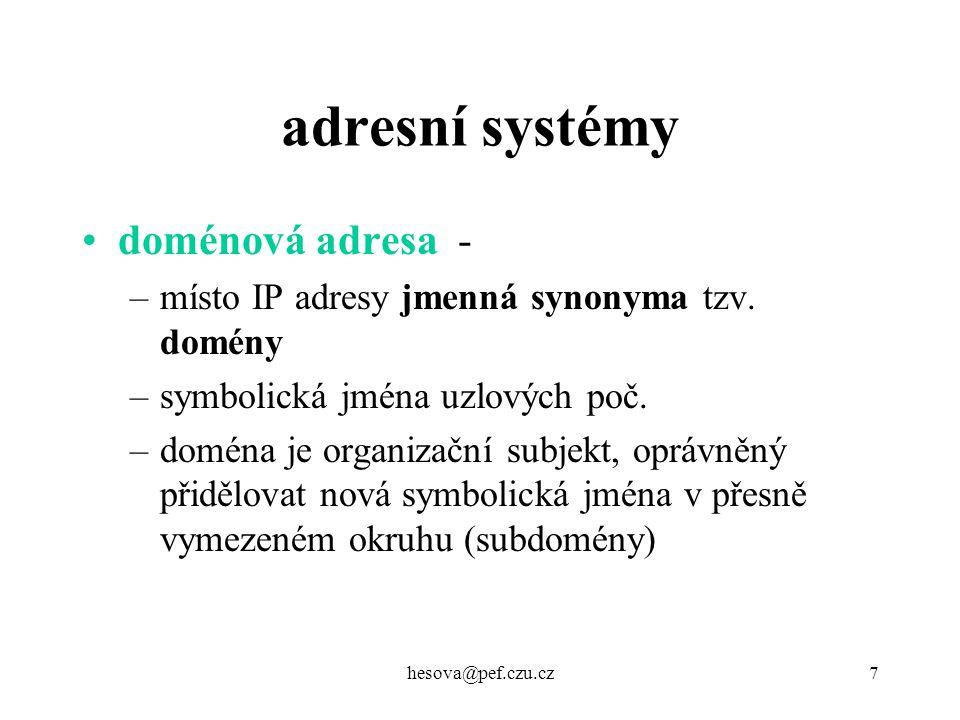 adresní systémy doménová adresa -