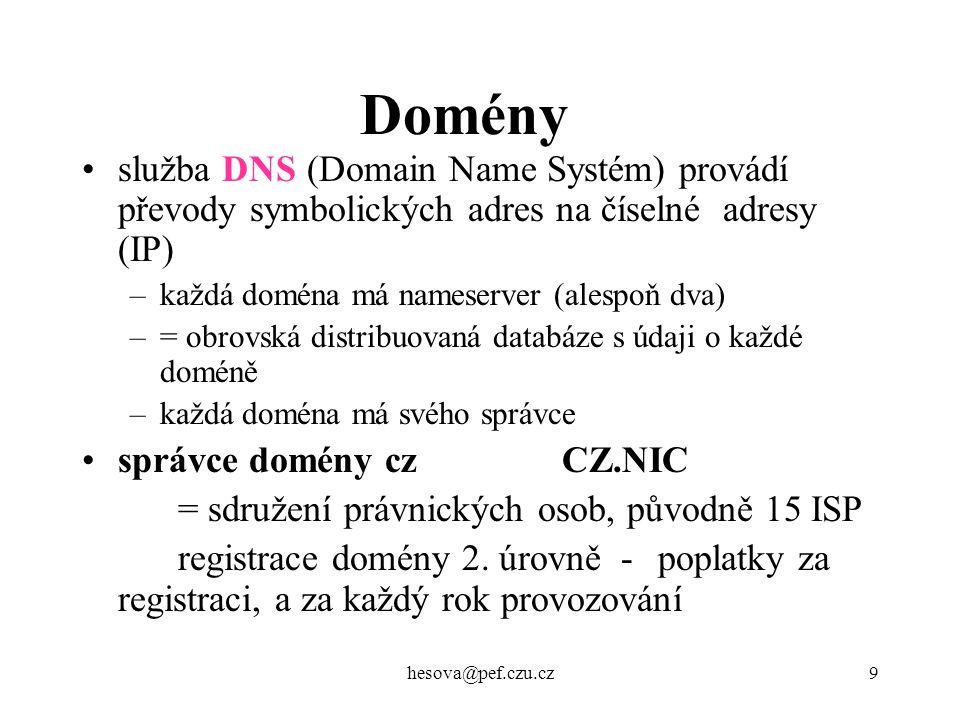 Domény služba DNS (Domain Name Systém) provádí převody symbolických adres na číselné adresy (IP) každá doména má nameserver (alespoň dva)