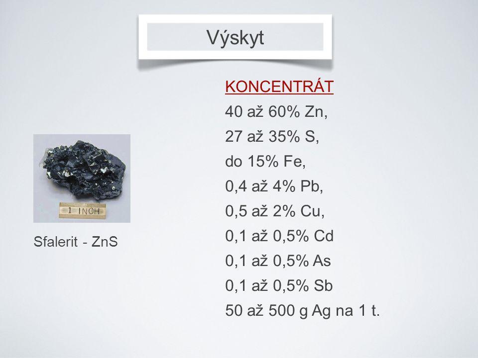 Výskyt KONCENTRÁT 40 až 60% Zn, 27 až 35% S, do 15% Fe, 0,4 až 4% Pb,