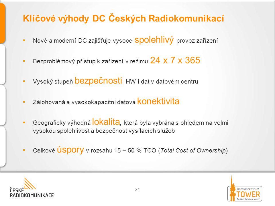 Klíčové výhody DC Českých Radiokomunikací