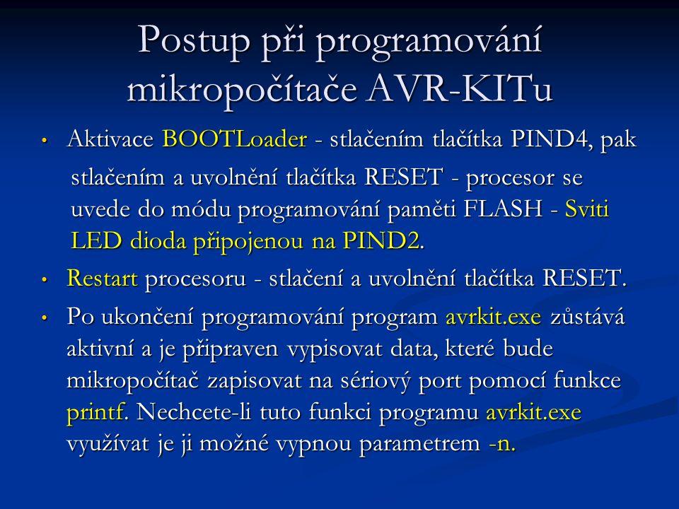 Postup při programování mikropočítače AVR-KITu