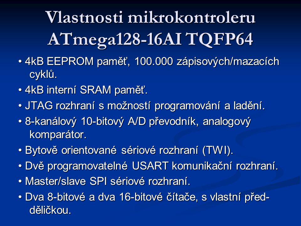 Vlastnosti mikrokontroleru ATmega128-16AI TQFP64