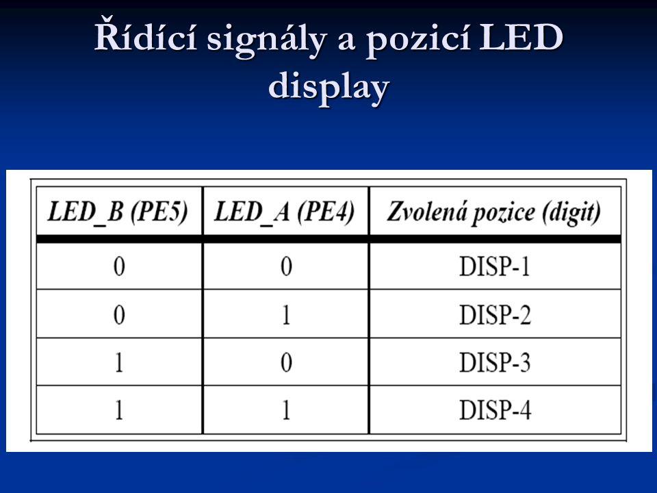 Řídící signály a pozicí LED display
