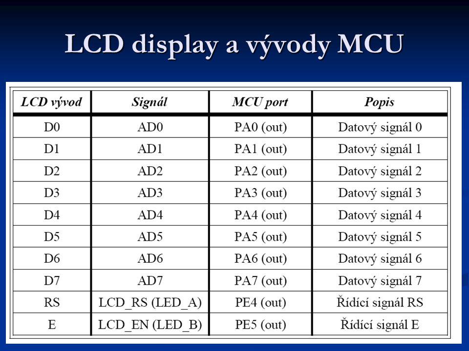 LCD display a vývody MCU