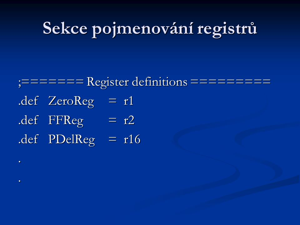 Sekce pojmenování registrů