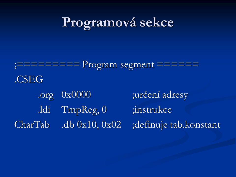 Programová sekce ;========= Program segment ====== .CSEG