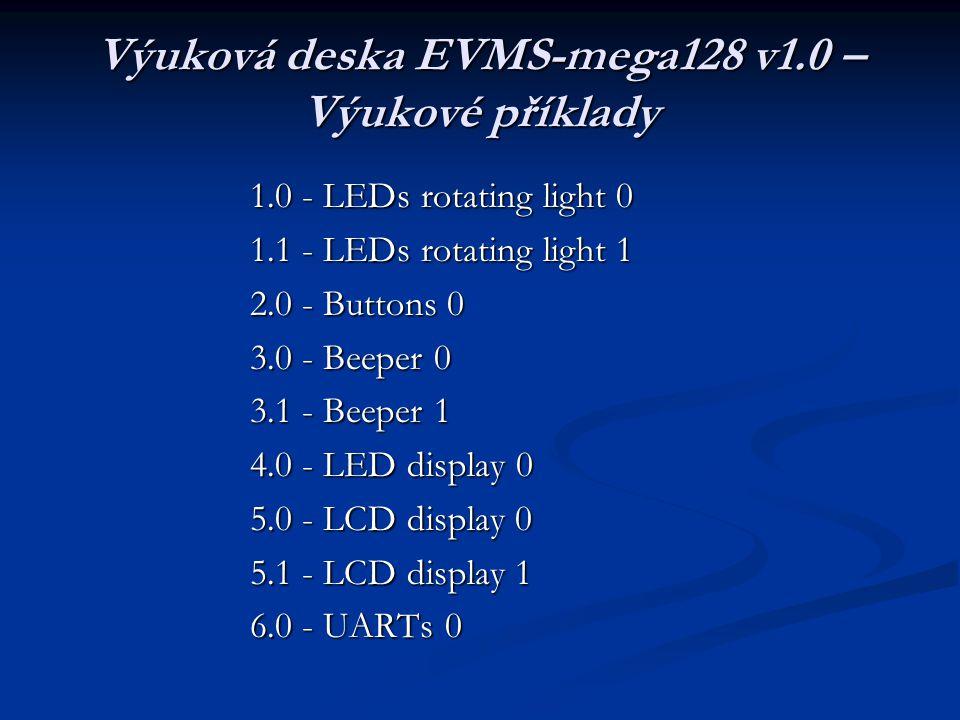 Výuková deska EVMS-mega128 v1.0 – Výukové příklady
