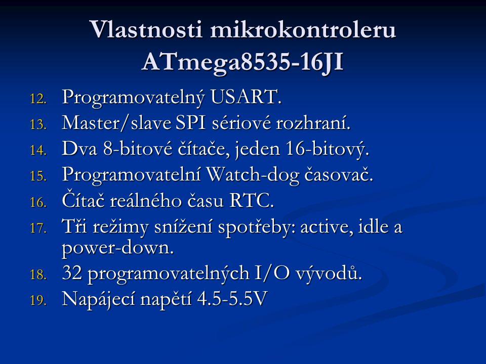 Vlastnosti mikrokontroleru ATmega8535-16JI