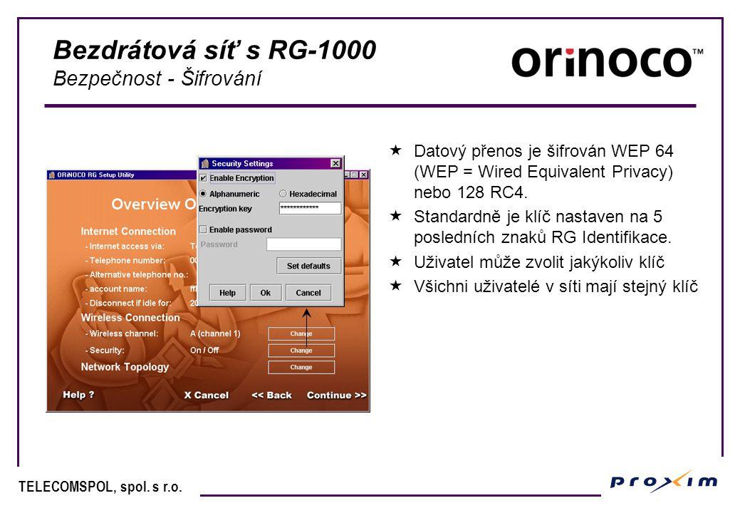 Bezdrátová síť s RG-1000 Bezpečnost - Šifrování