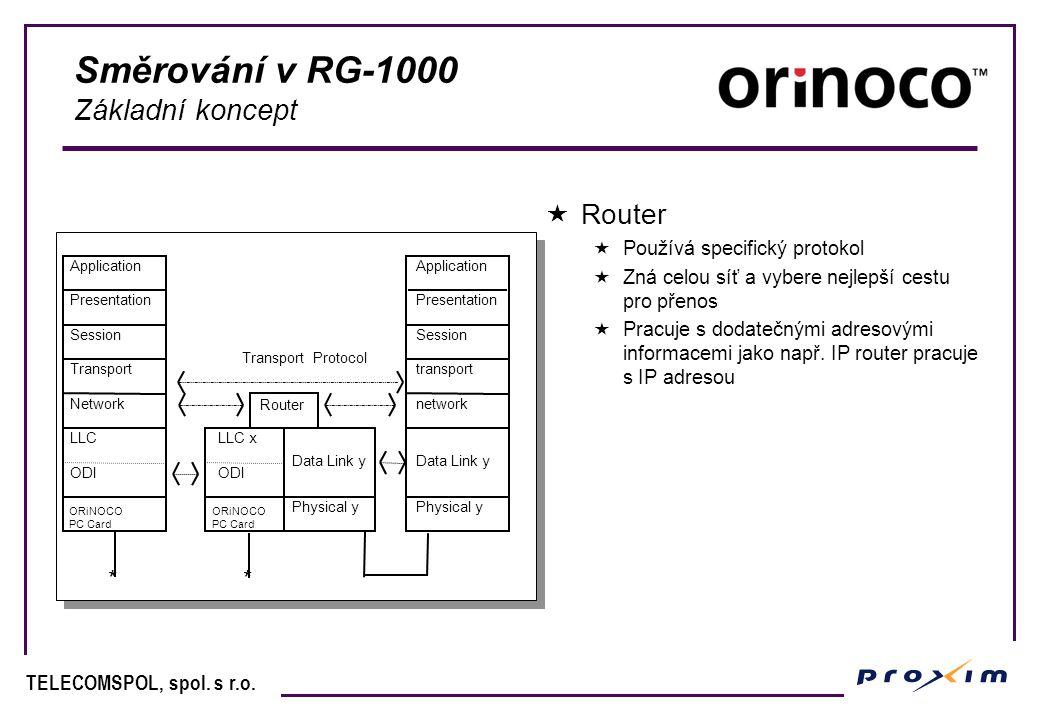 Směrování v RG-1000 Základní koncept