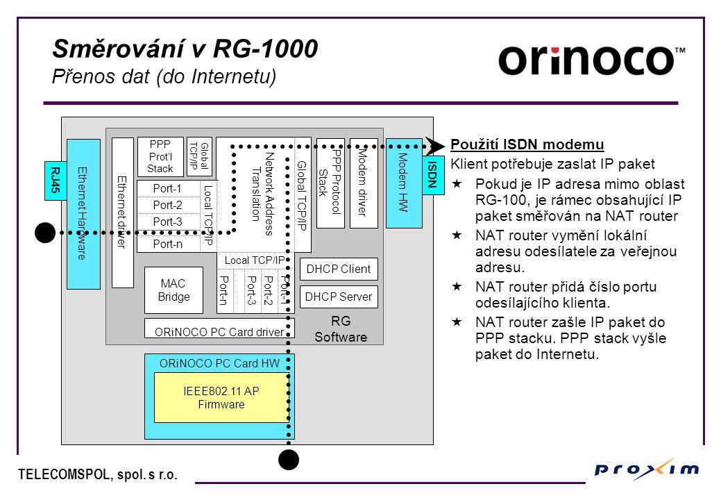 Směrování v RG-1000 Přenos dat (do Internetu)