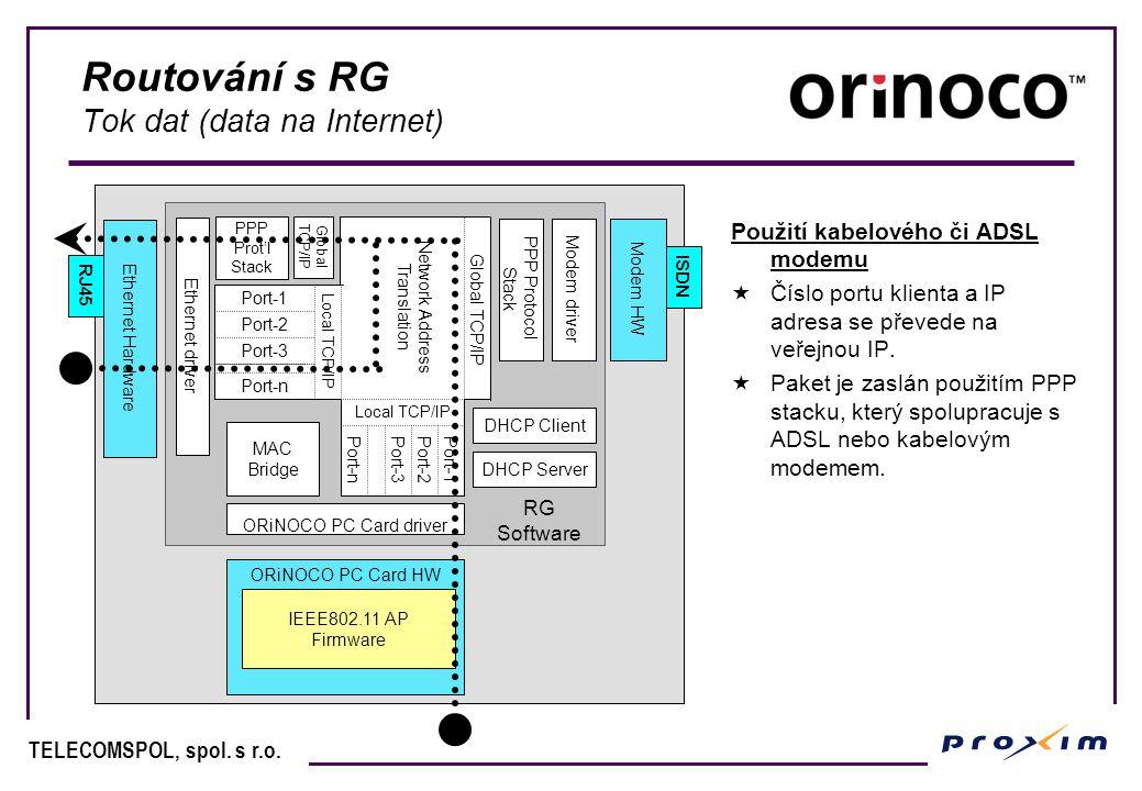 Routování s RG Tok dat (data na Internet)