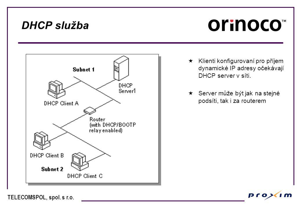 DHCP služba Klienti konfigurovaní pro příjem dynamické IP adresy očekávají DHCP server v síti.