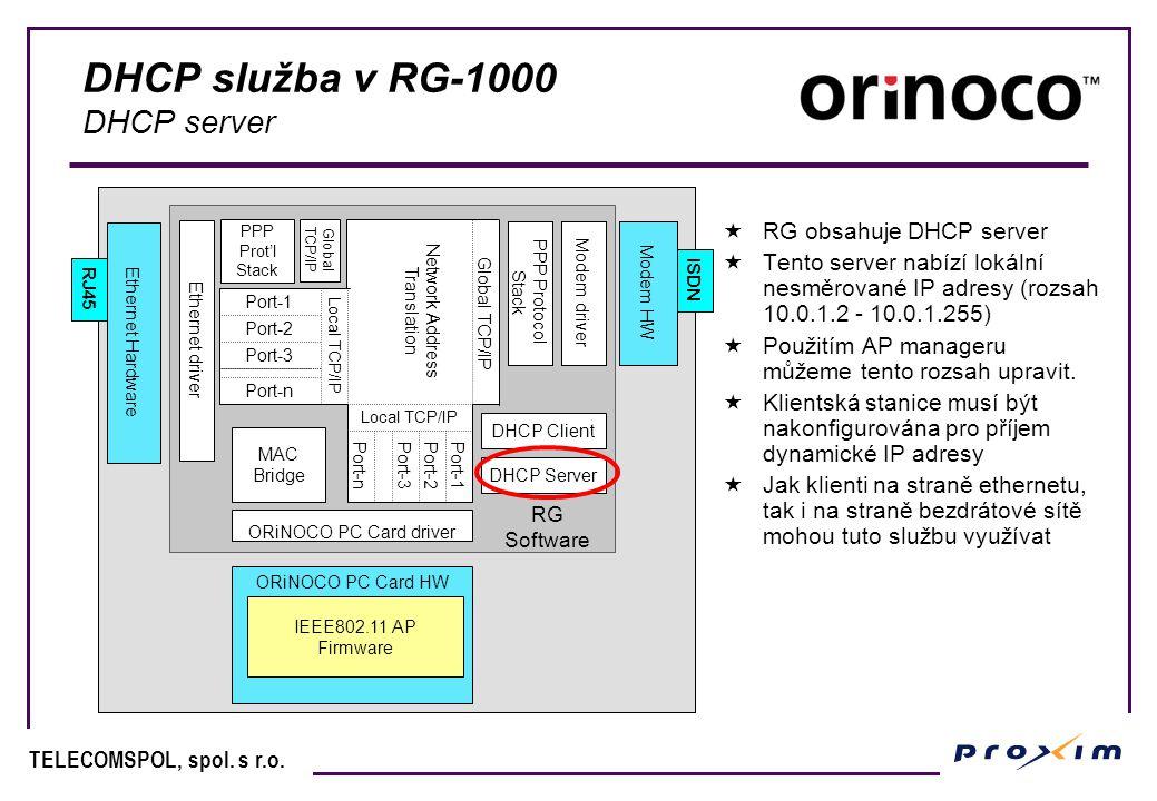 DHCP služba v RG-1000 DHCP server