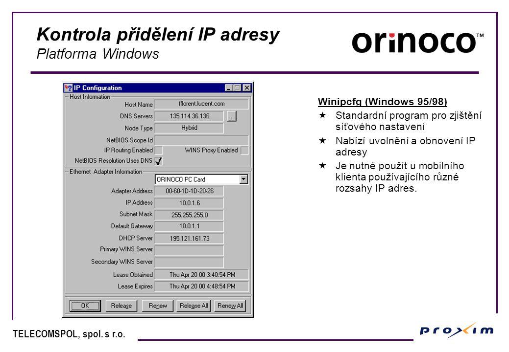 Kontrola přidělení IP adresy Platforma Windows