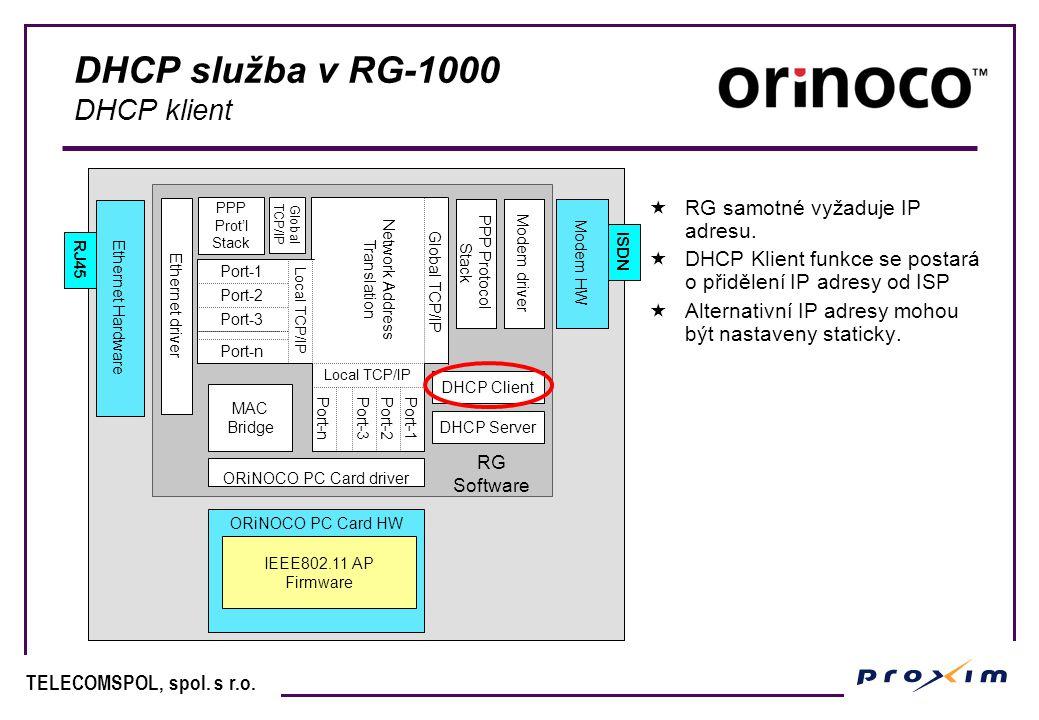 DHCP služba v RG-1000 DHCP klient