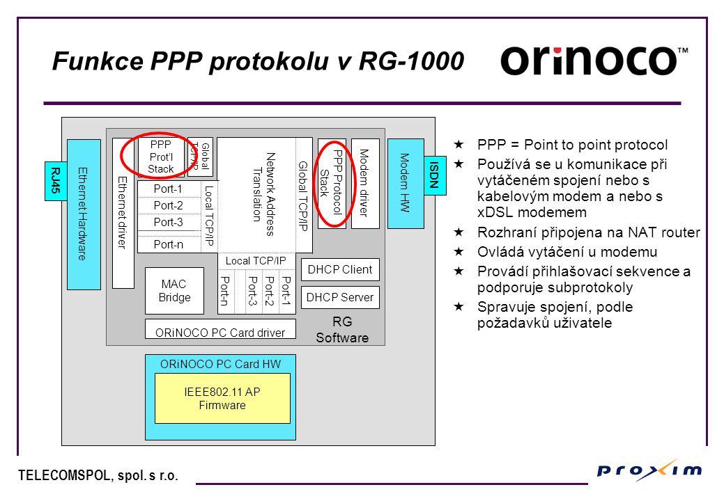 Funkce PPP protokolu v RG-1000