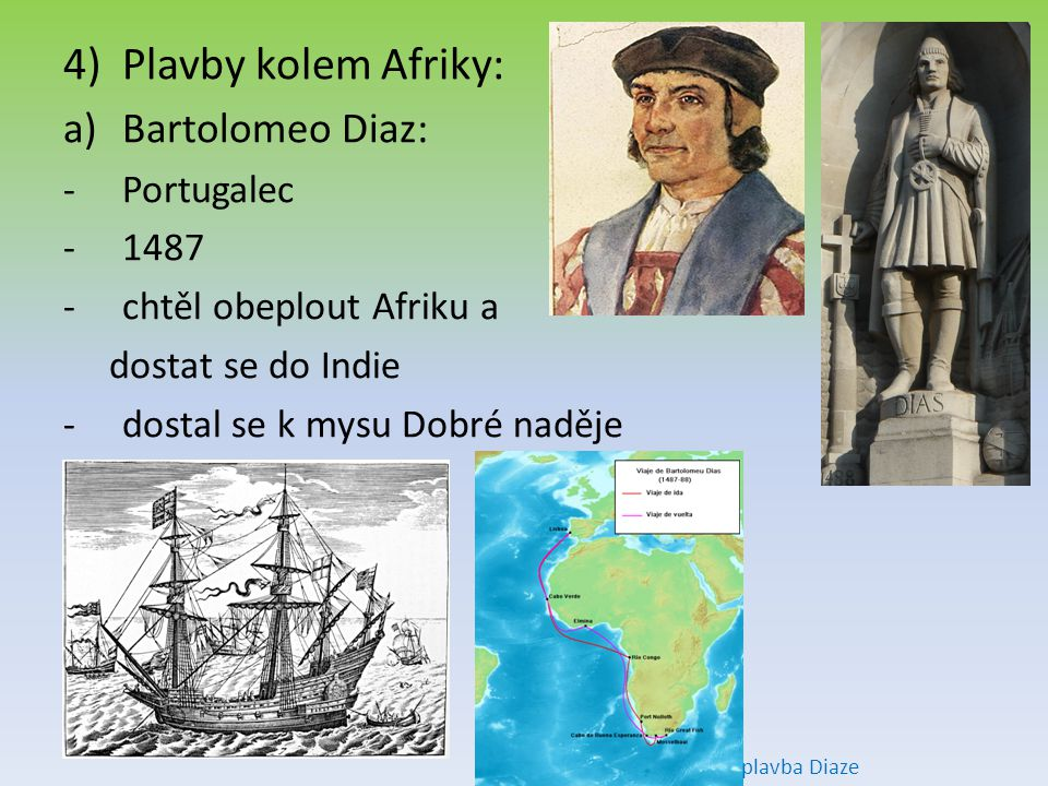 Plavby kolem Afriky: Bartolomeo Diaz: Portugalec 1487