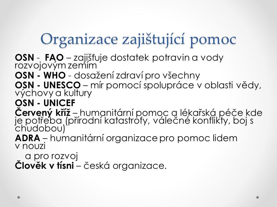 Organizace zajištující pomoc