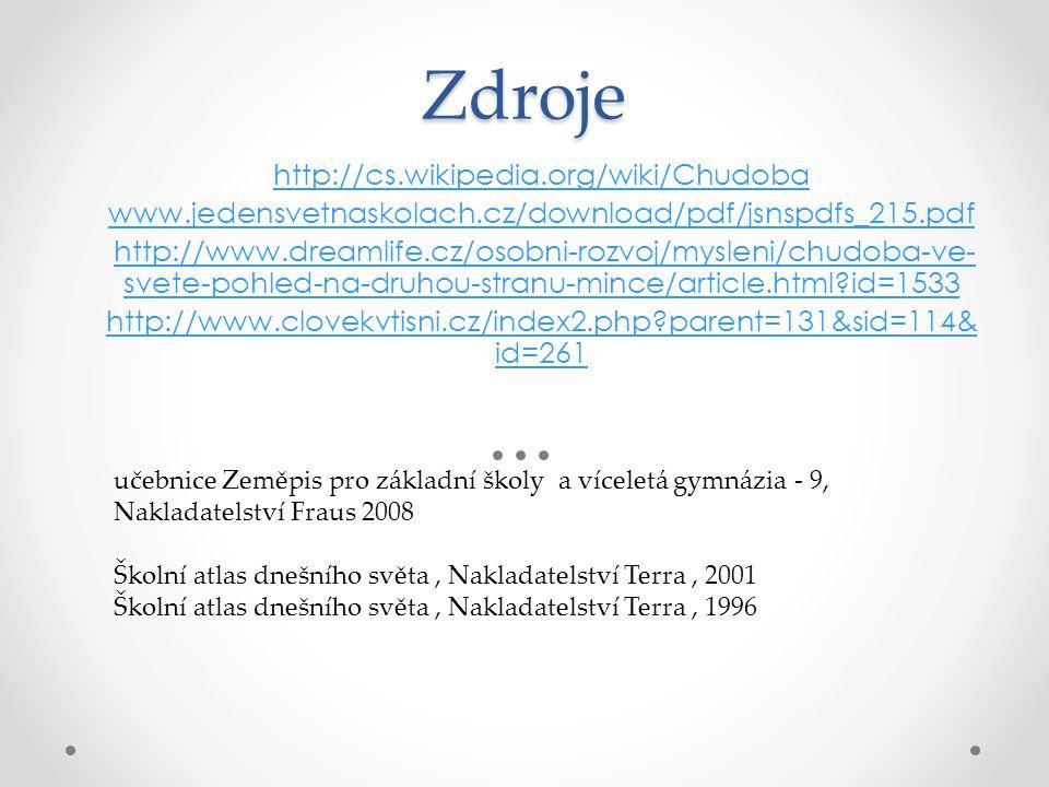 Zdroje http://cs.wikipedia.org/wiki/Chudoba