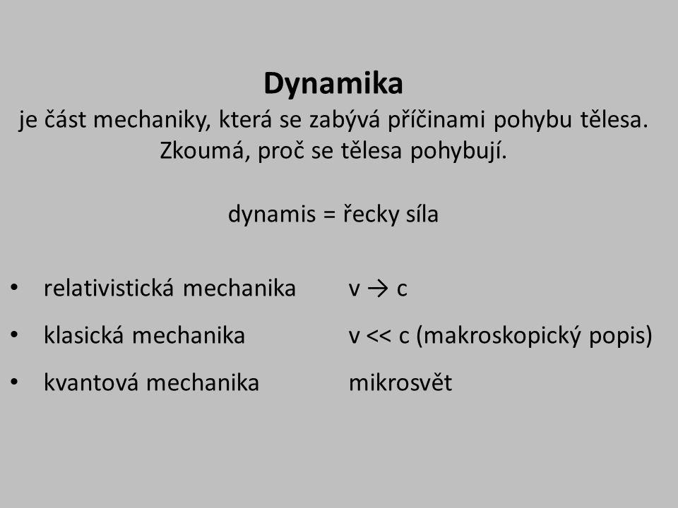 Dynamika je část mechaniky, která se zabývá příčinami pohybu tělesa