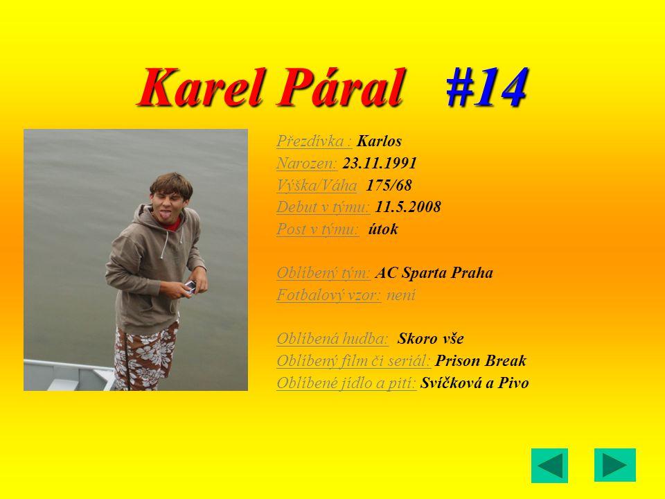 Karel Páral #14 Přezdívka : Karlos Narozen: 23.11.1991