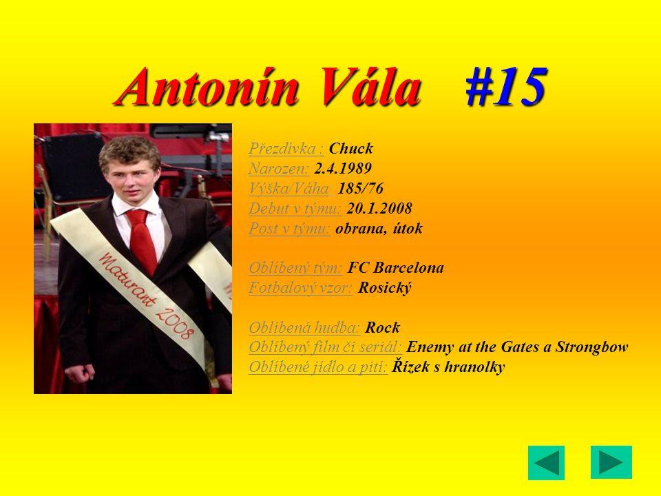 Antonín Vála #15 Přezdívka : Chuck Narozen: 2.4.1989