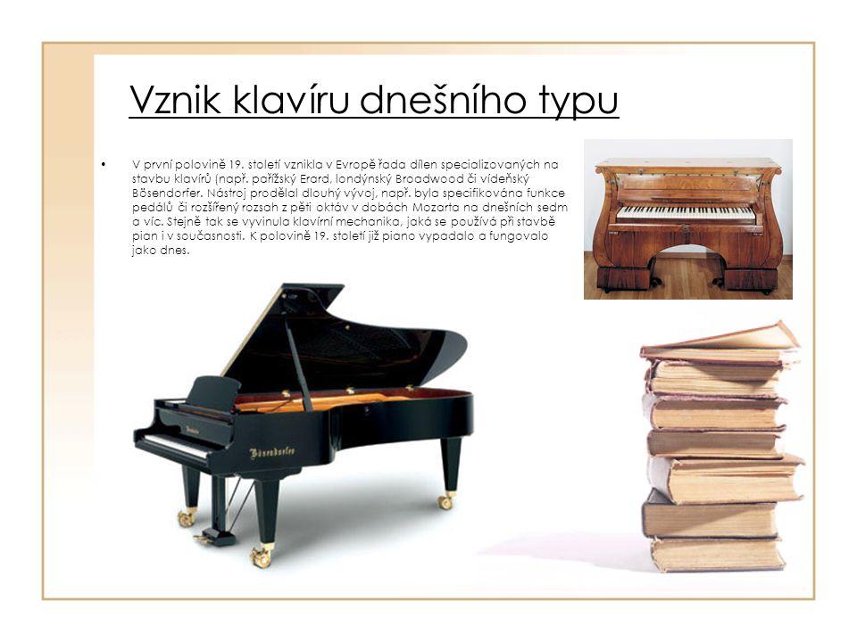 Vznik klavíru dnešního typu