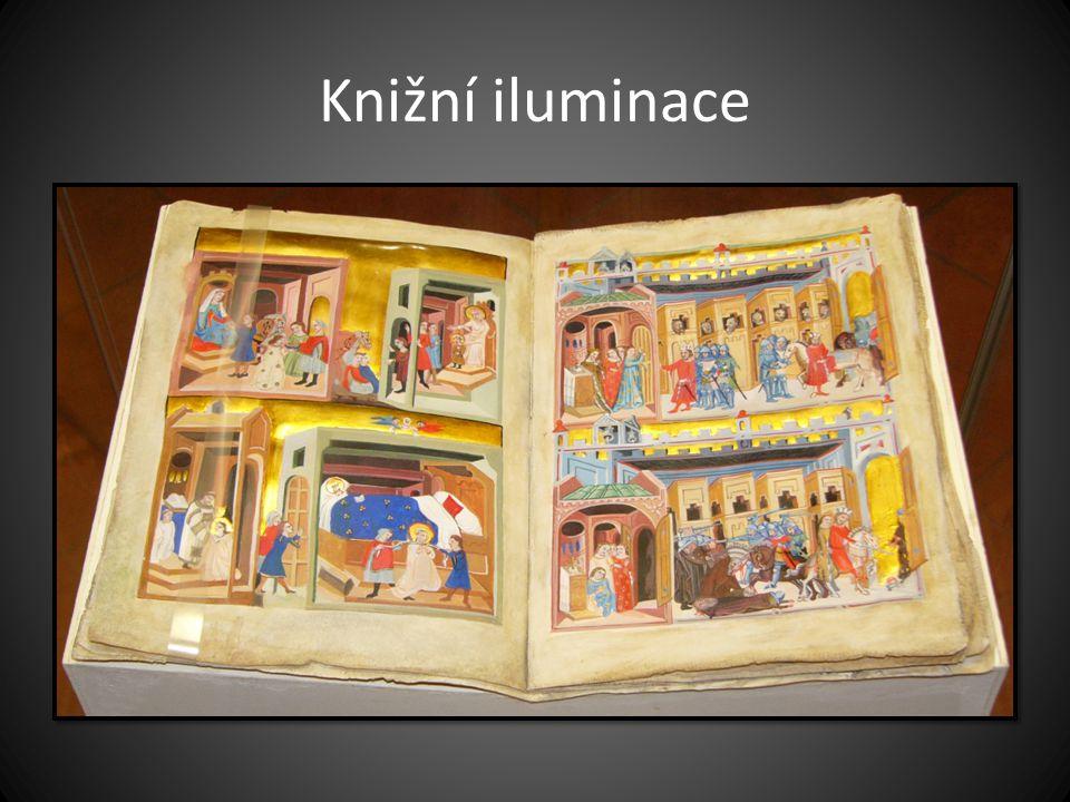 Knižní iluminace Dalimilova kronika, fragment latinského překladu podle první redakce, pergamen z roku 1330 – 1340.
