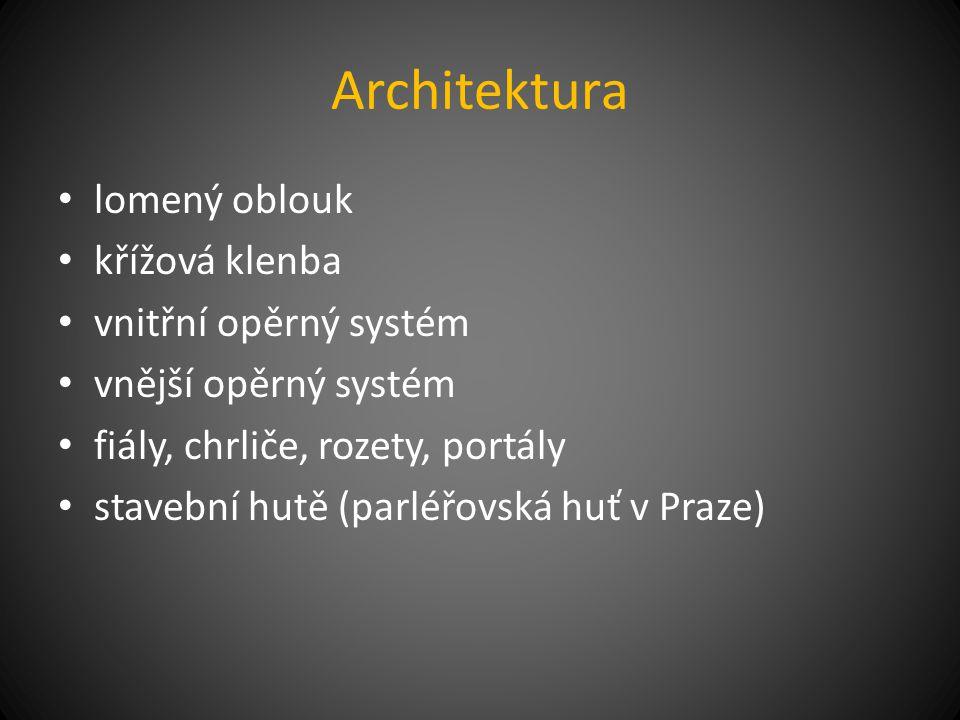 Architektura lomený oblouk křížová klenba vnitřní opěrný systém
