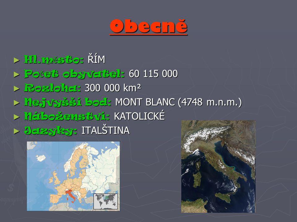 Obecně Hl.město: ŘÍM Počet obyvatel: 60 115 000 Rozloha: 300 000 km²