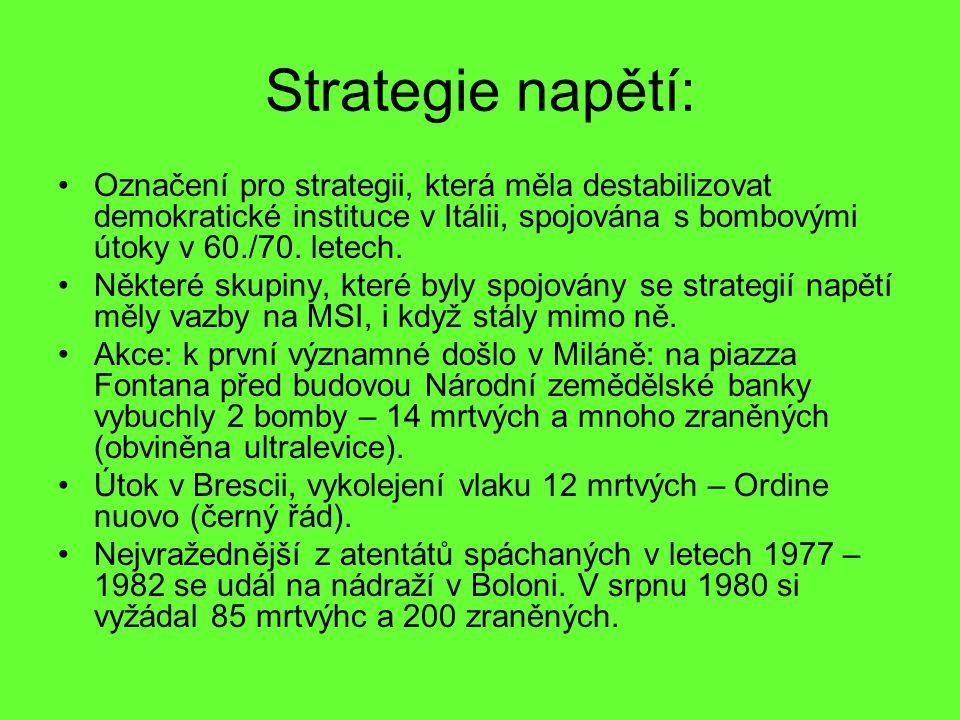Strategie napětí: Označení pro strategii, která měla destabilizovat demokratické instituce v Itálii, spojována s bombovými útoky v 60./70. letech.