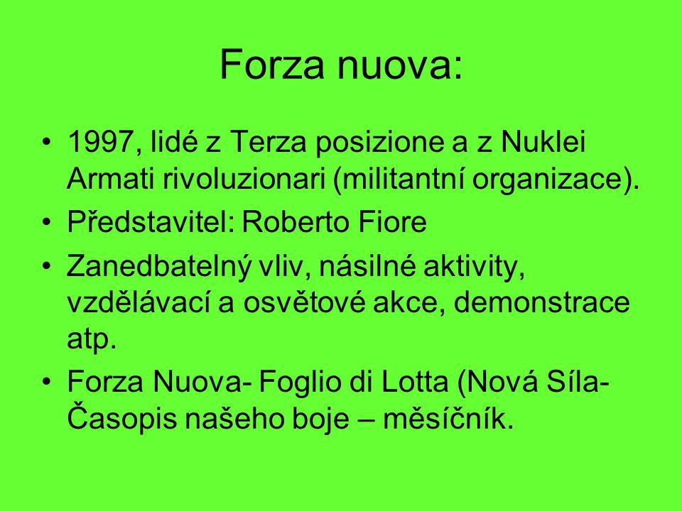 Forza nuova: 1997, lidé z Terza posizione a z Nuklei Armati rivoluzionari (militantní organizace). Představitel: Roberto Fiore.