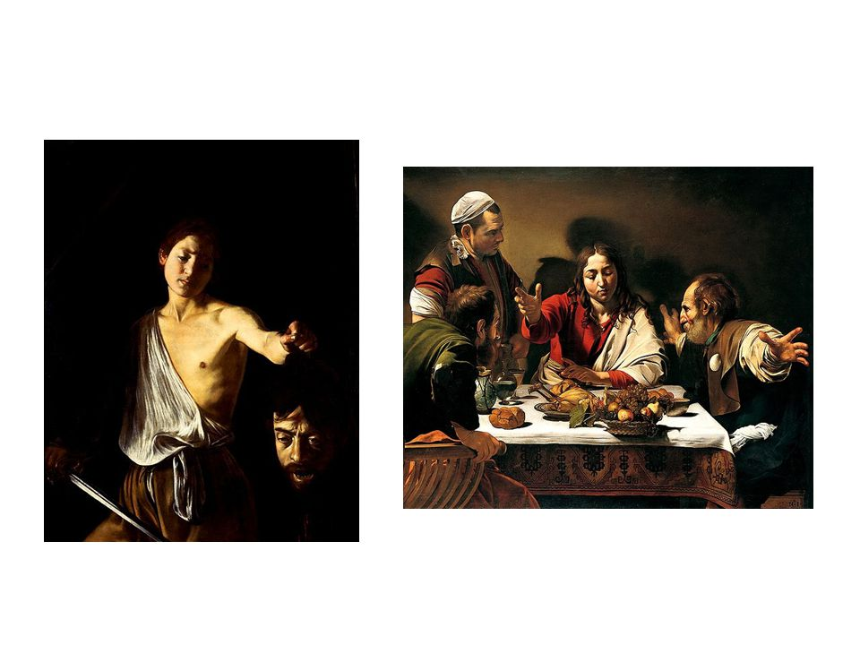 vlevo: David s hlavou Goliáše, vpravo Večeře v Emauzích