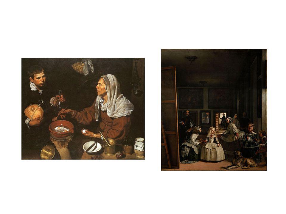 vlevo: žena vařící vejce, vpravo: las Meninas(1656)