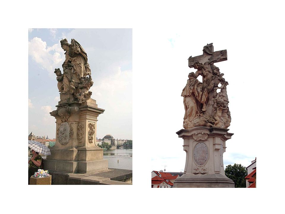 vlevo Sv. Ludmila s Václavem, vpravo Sena Sv. Luitgardy