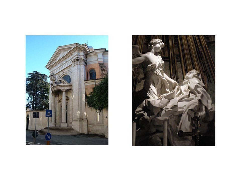 vlevo: kostel San Andrea al Quirinale, vpravo Extáze sv. Terezy