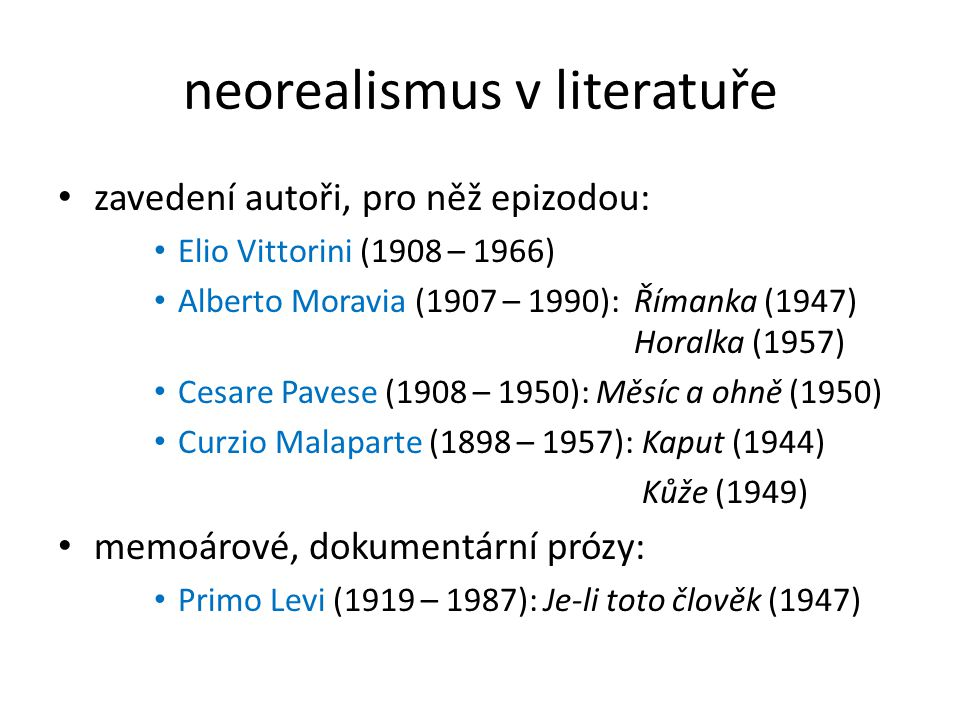 neorealismus v literatuře