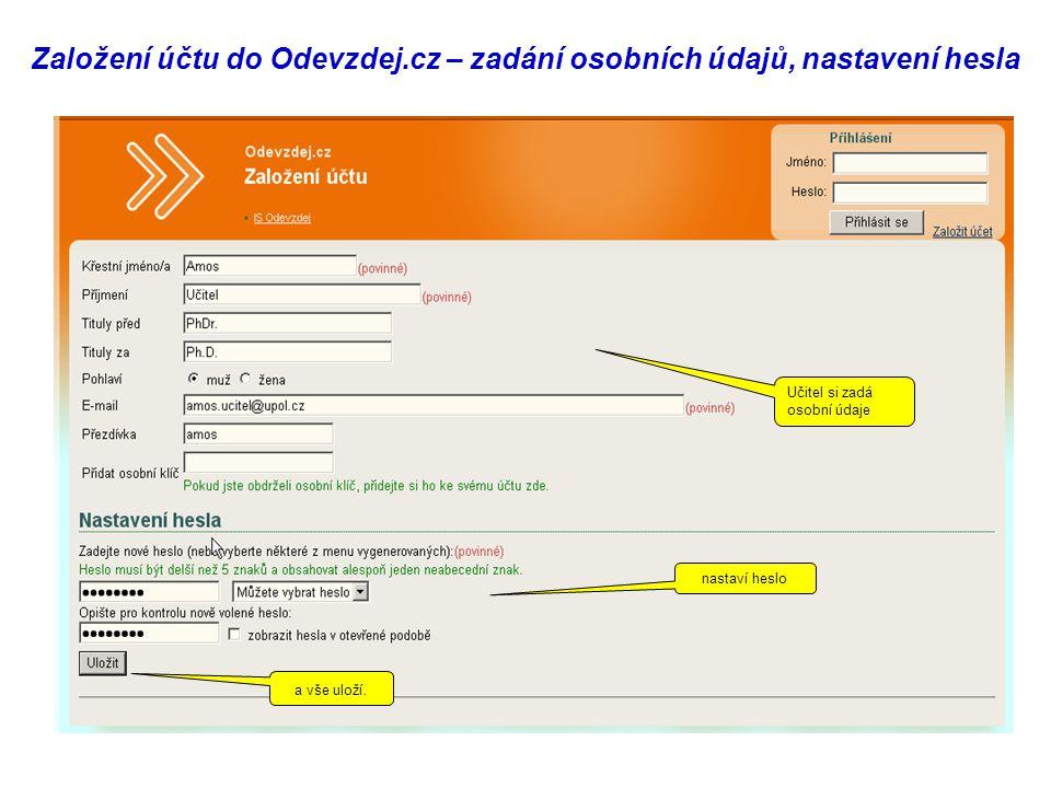 Založení účtu do Odevzdej.cz – zadání osobních údajů, nastavení hesla