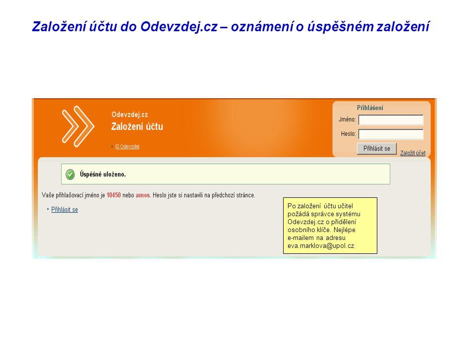 Založení účtu do Odevzdej.cz – oznámení o úspěšném založení