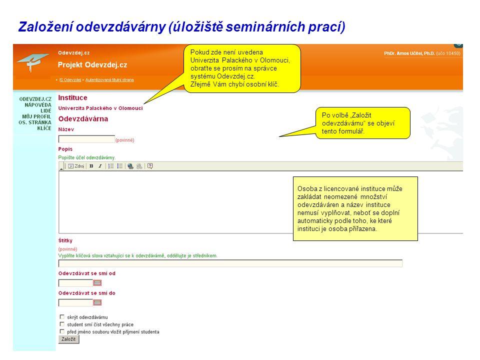 Založení odevzdávárny (úložiště seminárních prací)