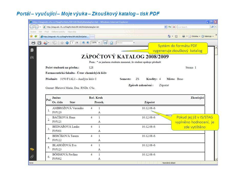 Portál – vyučující – Moje výuka – Zkouškový katalog – tisk PDF