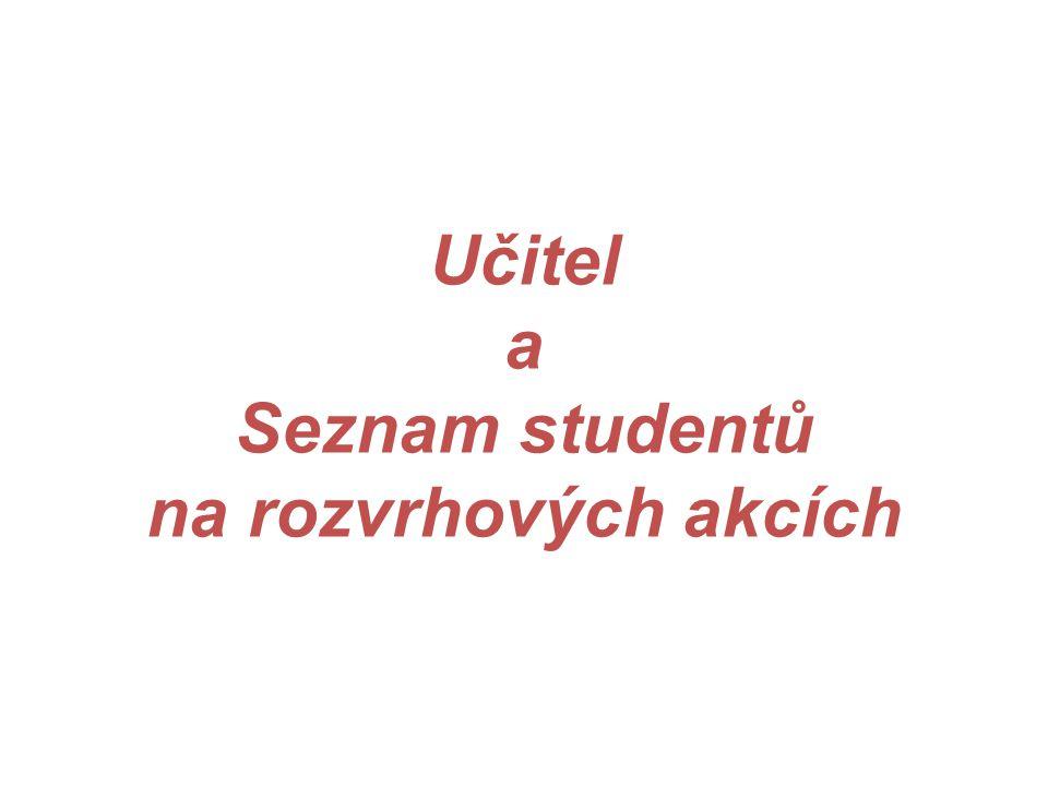 Učitel a Seznam studentů na rozvrhových akcích