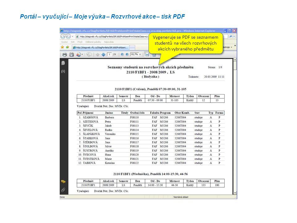 Portál – vyučující – Moje výuka – Rozvrhové akce – tisk PDF