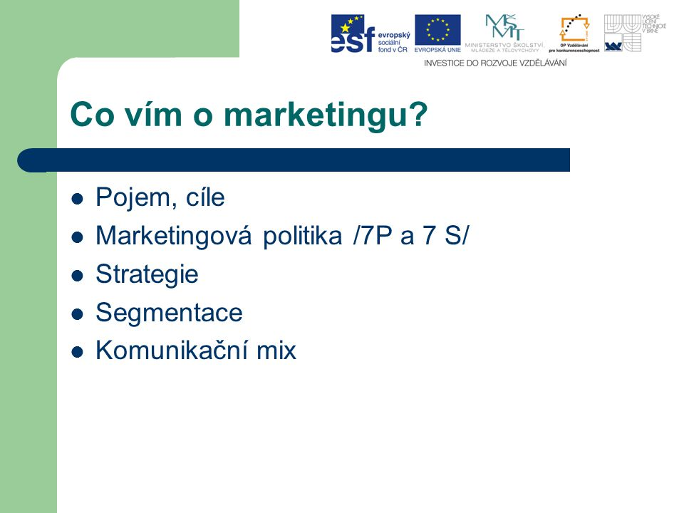 Co vím o marketingu Pojem, cíle Marketingová politika /7P a 7 S/