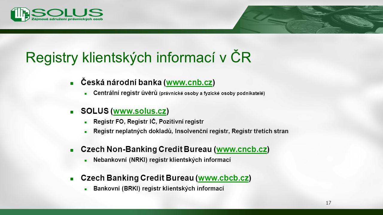 Registry klientských informací v ČR
