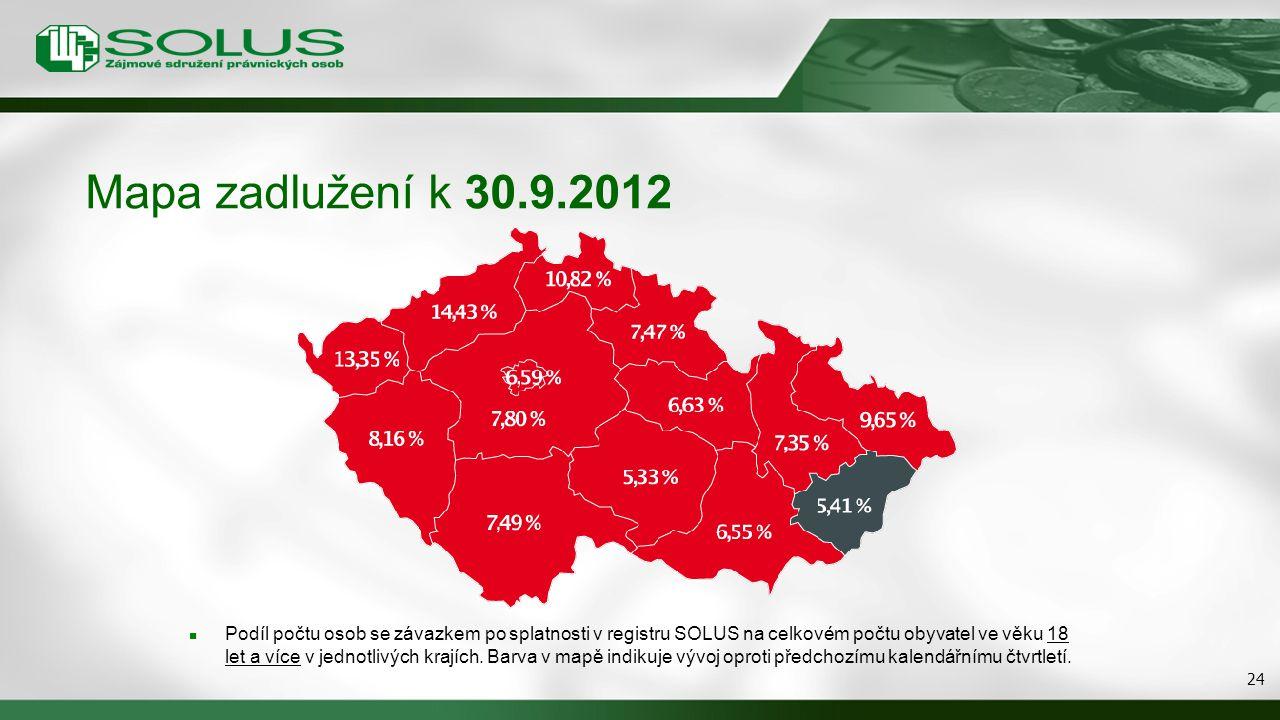 Mapa zadlužení k 30.9.2012